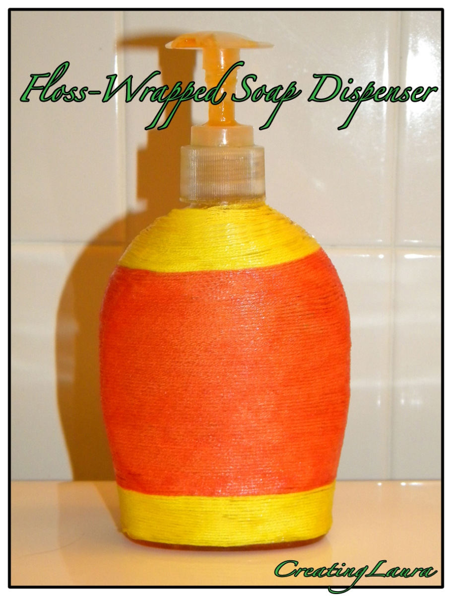 Embroidery Floss-Wrapped Soap Dispenser